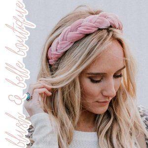 LULA Velvet Braided Twist Headband in Blush